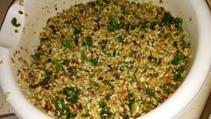 The veggie/ oat groat mixture fed daily